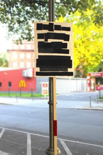 BlackOut, 2012, wood (placards) leather, velvet textiles