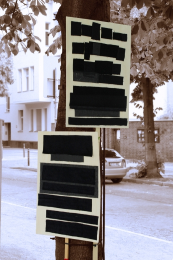 BlackOut, 2012, wood (placards) leather, velvet textiles (RichardPlatz, Berlin)